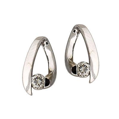 .25CTW Diamond Loop Earrings 14K White Gold