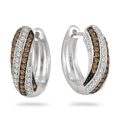 1 Carat All Natural Champagne and White Diamond Hoop Earrings in .925 Sterling Silver