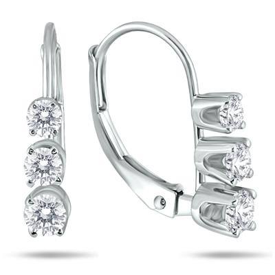1/2 Carat TW Three Stone Drop Earrings in 10K White Gold