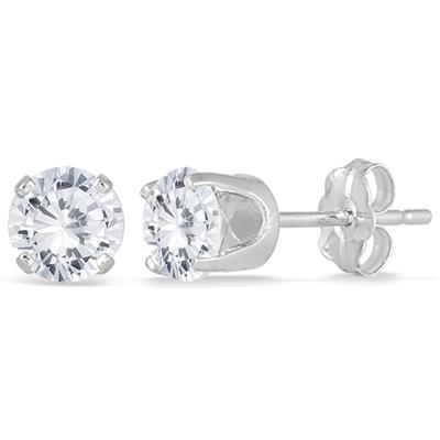 1.00 Carat Diamond Solitaire Earrings in 14K White Gold