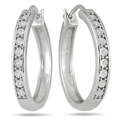 1/10 Carat Diamond Hoop Earrings in .925 Sterling Silver