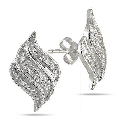 Diamond White Flame Earrings in .925 Sterling Silver