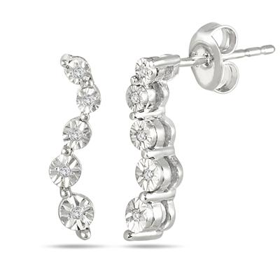Diamond Journey Earrings in .925 Sterling Silver