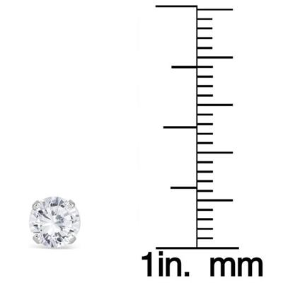1 Carat TW Round Solitaire Diamond Stud Earrings in 14K White Gold