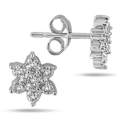 1/10 Carat Diamond Cluster Earrings in .925 Sterling Silver