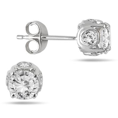 1 Carat Diamond Earrings in 14K White Gold