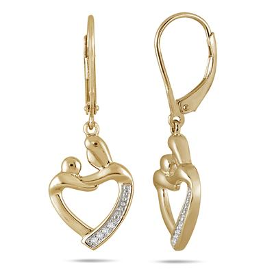 Mother and Baby Diamond Earrings in Gold Plated .925 Sterling Silver