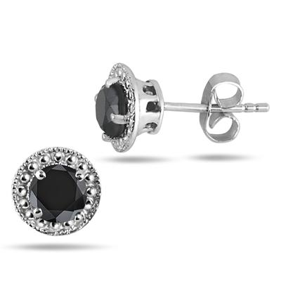 1 Carat Black Diamond Stud Earrings in .925 Sterling Silver