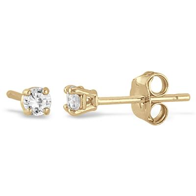 1/5 Carat Yellow Gold Plated Diamond Stud Earrings in .925 Sterling Silver