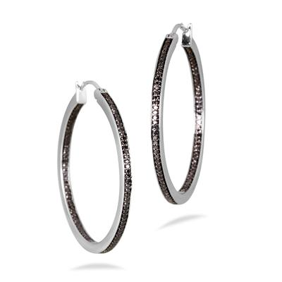 1/2 Carat Black Diamond Inside Out Hoop Earrings in .925 Sterling Silver