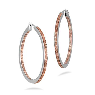 1/2 Carat Champagne Diamond Inside Out Hoop Earrings in .925 Sterling Silver