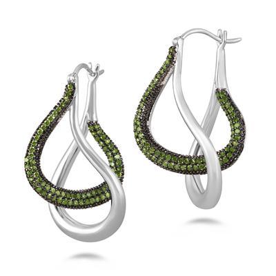 3/4 Carat TW Green Diamond Earrings in .925 Sterling Silver