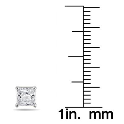 1.00 Carat Princess Diamond Solitaire Earrings in 14K White Gold