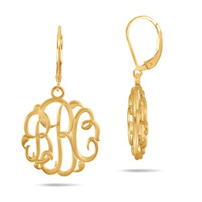 Monogram Initial Earrings in 24K Gold Plated Sterling Silver