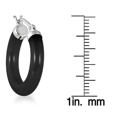 Natural Black Onyx Hoop Earrings in .925 Sterling Silver