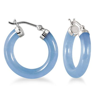 Natural Blue Jade Hoop Earrings in .925 Sterling Silver