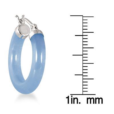 Natural Blue Jade Hoop Earrings in .925 Sterling Silver