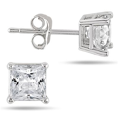 1.50 Carat Princess Diamond Solitaire Earrings in 14K White Gold
