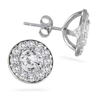 2 Carat Diamond Halo Earrings in 14K White Gold