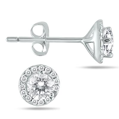 5/8 Carat Diamond Halo Earrings in 14K White Gold
