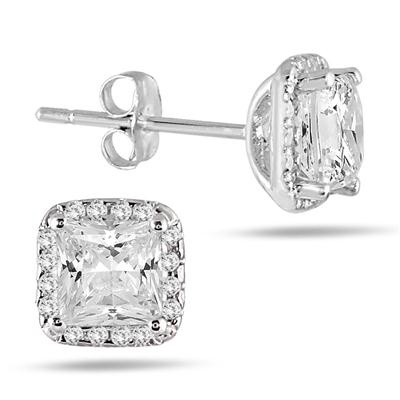 1 3/4 Carat TW Princess Diamond Halo Earrings in 14K White Gold