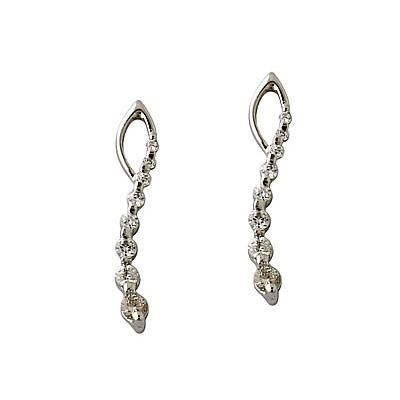 1/2CTW Diamond Journey Earrings In 14K White Gold
