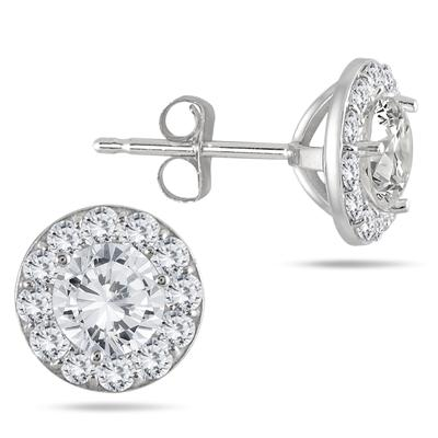 1 Carat TW Diamond Halo Earrings in 14K White Gold