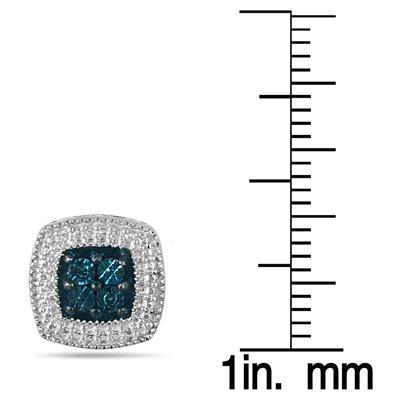 Genuine Natural Blue Diamond Halo Earrings in .925 Sterling Silver