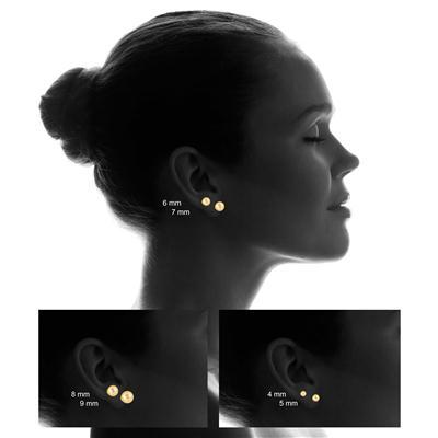 14K Yellow Gold Diamond-Cut 7MM BALL Earrings