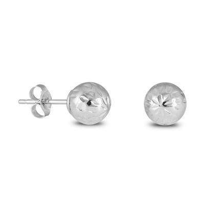 14K White Gold Diamond-Cut 5MM BALL Earrings