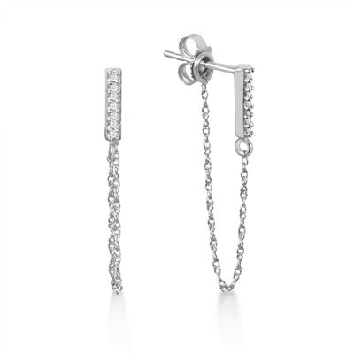 1/10 Carat TW Diamond Bar and Chain Earrings in 10K White Gold