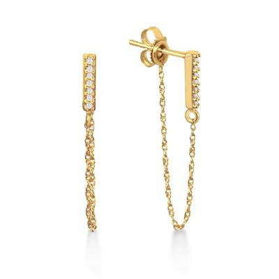 1/10 Carat TW Diamond Bar and Chain Earrings in 10K Yellow Gold