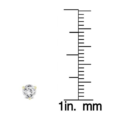 1/2 Carat TW AGS Certified Martini Set Round Diamond Solitaire Earrings in 14K Yellow Gold (K-L Color, I2-I3 Clarity)