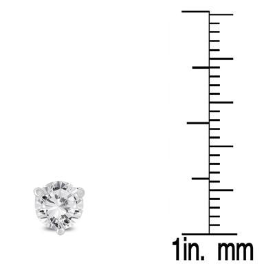 1 Carat TW AGS Certified Martini Set Round Diamond Solitaire Earrings in 14K White Gold (K-L Color, I2-I3 Clarity)