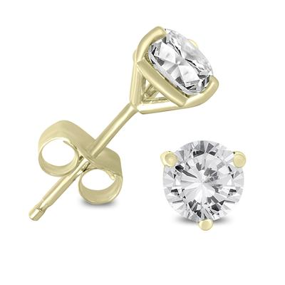 1 Carat TW AGS Certified Martini Set Round Diamond Solitaire Earrings in 14K Yellow Gold (K-L Color, I2-I3 Clarity)
