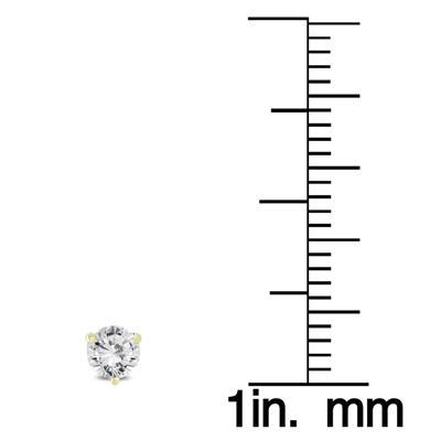 1/4 Carat TW AGS Certified Martini Set Round Diamond Solitaire Earrings in 14K Yellow Gold (I-J Color, I1-I2 Clarity)