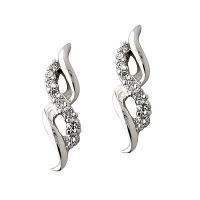 Diamond Ribbon Earrings in 14kt White Gold