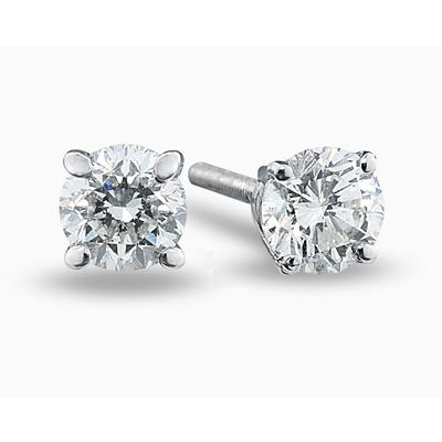 1.00CT White Diamond Stud Earrings in 14k White Gold