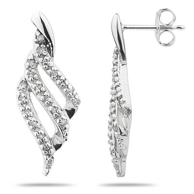 1/5 Carat TW Diamond Ribbon Twist Earrings in 10k White Gold