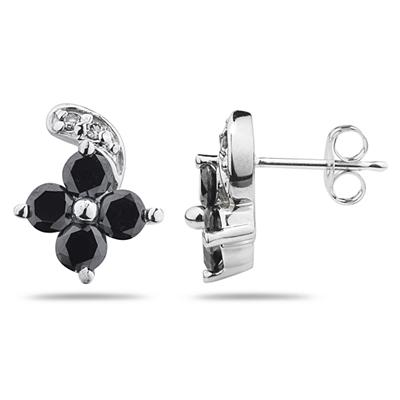 Black & White Diamond Flower Earrings in White Gold