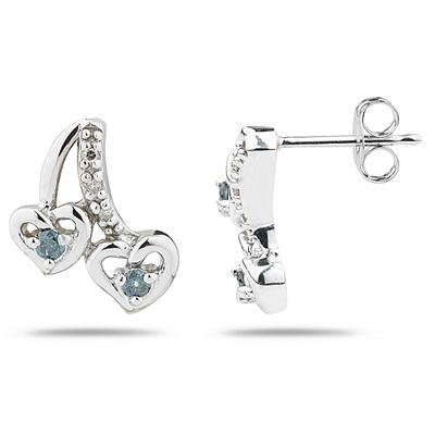 Heart Shaped Blue and White Diamond Earrings in White Gold