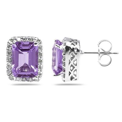 3.75ctw Emerald Cut Amethyst  and Diamond Earrings in 14K White Gold