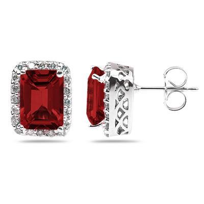 3.75ctw Emerald Cut Garnet  and Diamond Earrings in 14K White Gold