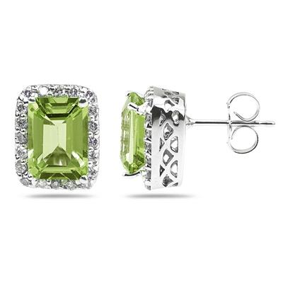 3.75ctw Emerald Cut Peridot  and Diamond Earrings in 14K White Gold