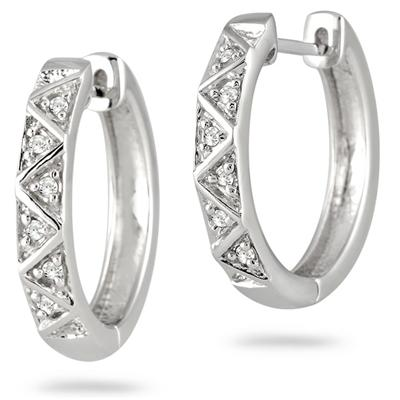 1/10 Carat Diamond Hoop Earrings in Solid .925 Sterling Silver