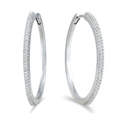 1/3 Carat TW Genuine Diamond Hoop Earrings in Platinum Plated .925 Sterling Silver