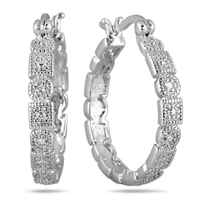 Diamond Hoop Earrings in Rhodium Plated Solid Brass