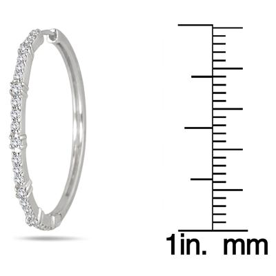 1.00 Carat Diamond Hoop Earrings in .925 Sterling Silver