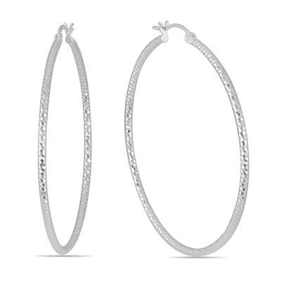 50MM Hoop Earrings In .925 Sterling Silver
