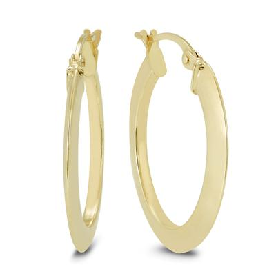 20MM Oval Hoop Earrings in 14K Yellow Gold